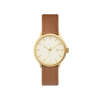 Khorshid Mini Series Gold Dial Honey Brown Leather Watch