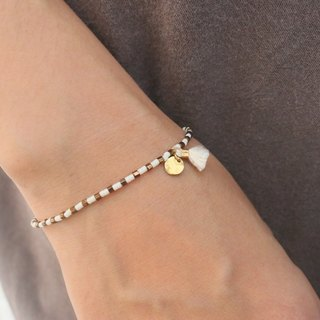 Glass beads brass bracelet 1058 Dora