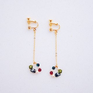 Glamor - Christmas color crystal pearl glass beads earrings (Christmas gift)