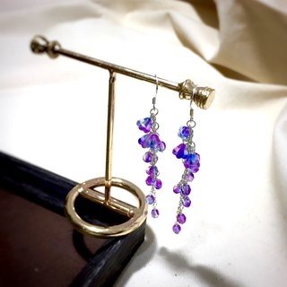 [If Sang] a curtain dream. Wisteria flowers. Wisteria. Gradient crystal violet. s925 silver. Silver earrings / ear hooks / ear clip / no pierced stars