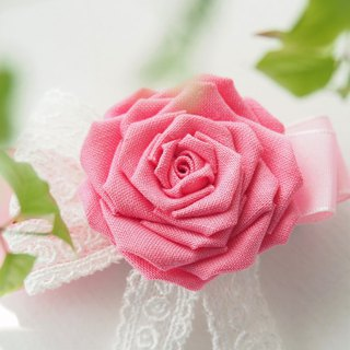 Romantic Pink Rose Corsage and Hair clip custom