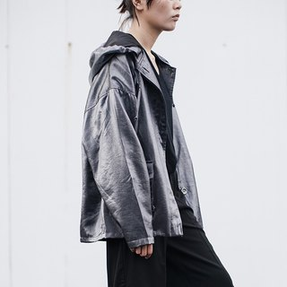 Black gray Starman light rain people oversize hooded windbreaker men and women couples with cool coat