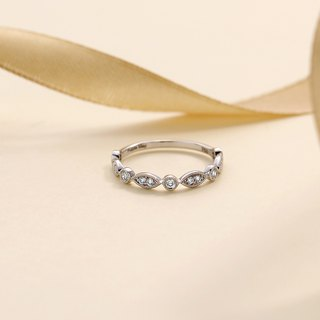 【客製訂單-Candy】18k WG Diamond Ring R008 + 18k YG Eternity Ring R001
