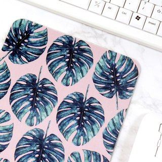Tropical Mouse Pad Pink Mouse Mat Green Leaves Pattern Desk Decor