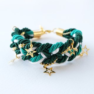 Christmas gift collection ,Green/White/Gold braided rope bracelet with stars