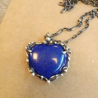 Natural stone love shape lapis and sterling silver hand-made pendant