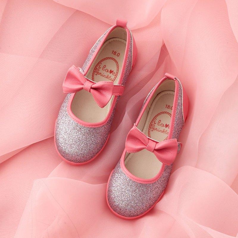 Ruby亮片珊瑚粉蝴蝶結娃娃鞋