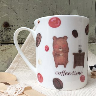 Bone China Mug - Coffee Brown Bear cofee time / Coffee / Bear / Cafe Order another offer / Microwave / SGS