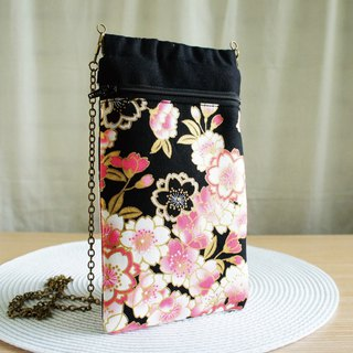 Lovely [Japanese cloth] pink cherry cross-body phone bag, pencil case, glasses bag, mobile phone bag plus