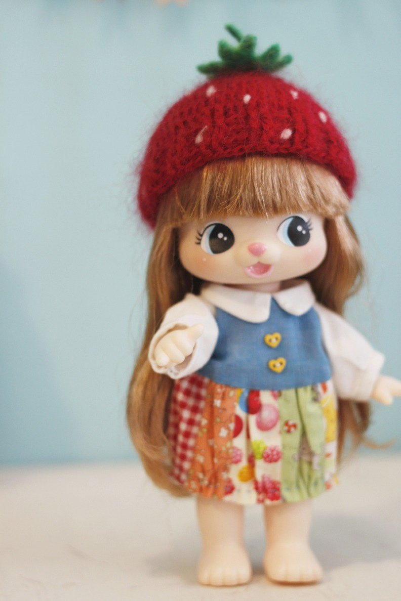 Cute strawberry doll one. The hat is hand-made for Miki (the last two)