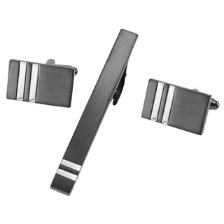 Brushed Gunmetal and Silver Stripes Cufflinks and Tie Clip Set