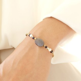 [Classic Series] labradorite gemstone blue halo brass bracelet design