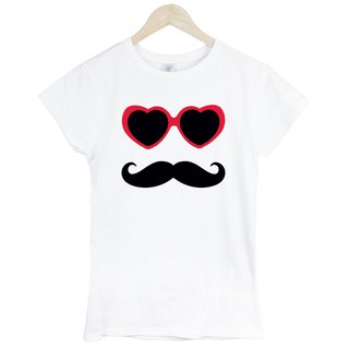 Sunglasses Mustache Girls Short Sleeve T-Shirt White Eyewear Beardon Art Design Fashionable Stylish