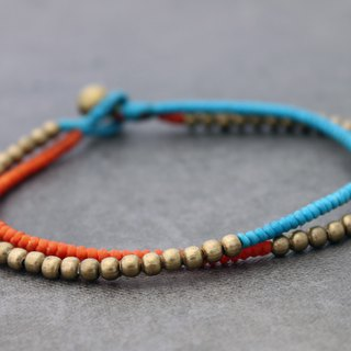 Beaded Woven Brass Anklets Contrast Blue Orange Raw Brass Beads Ankles Bracelets