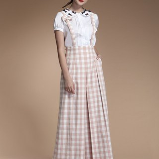 Sling plaid wide trousers