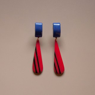 Retro Stripes Purple & Red Drop Earrings