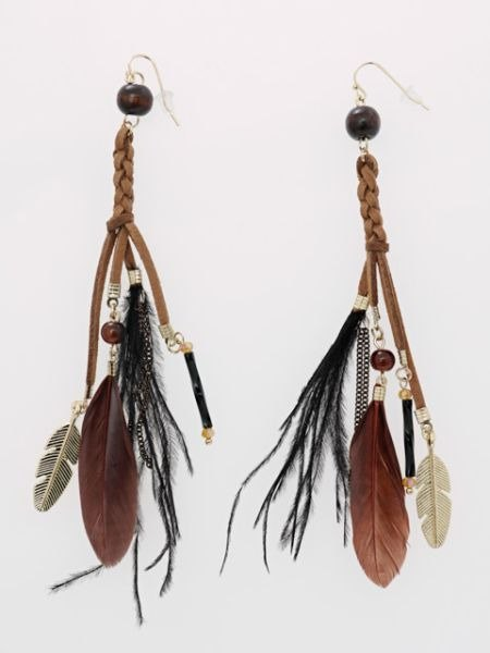 Pre-order hippie feather tassel earrings KXXZ7862