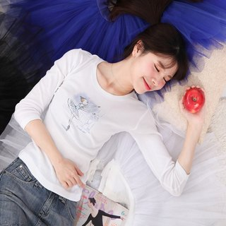 Yi Zhi's Ballet | Sleeping Beauty Blue Birds Seven-Sleeve Sleeve Ballet Round Neck T-Shirt