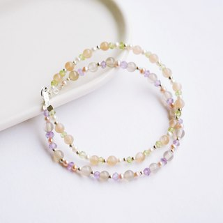 Blessing Gem Wreath Natural Amethyst Moonstone Olivine Pearl 925 Sterling Silver Bracelet Gift