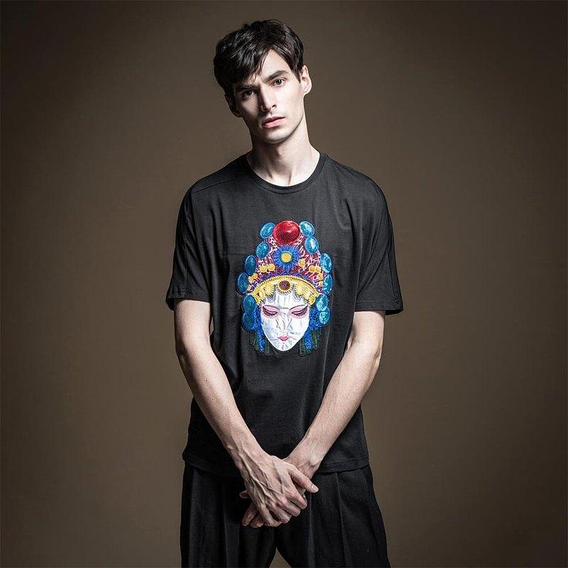 PINLI品立夏季男裝修身中國風戲劇繡花短袖T恤