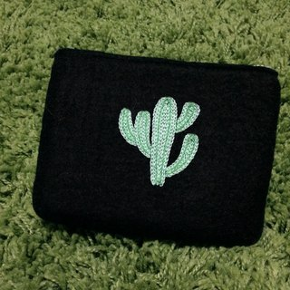 Cactus embroidery wool felt bag / handle bag / debris bag