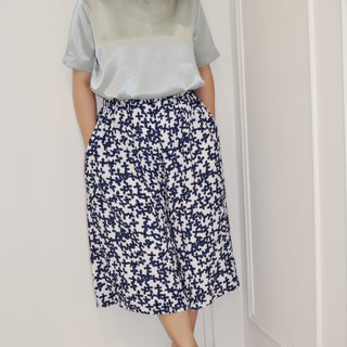 Flat 135 X Taiwan designer series single-layer cotton blue white flower cloth wide pants