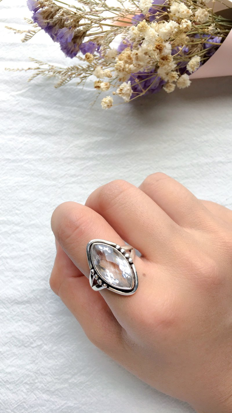 White crystal 925 sterling silver will be simple design ring Nepal handmade silver