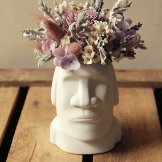 Tranquil purple moai small potted flower dry flower eternal flower