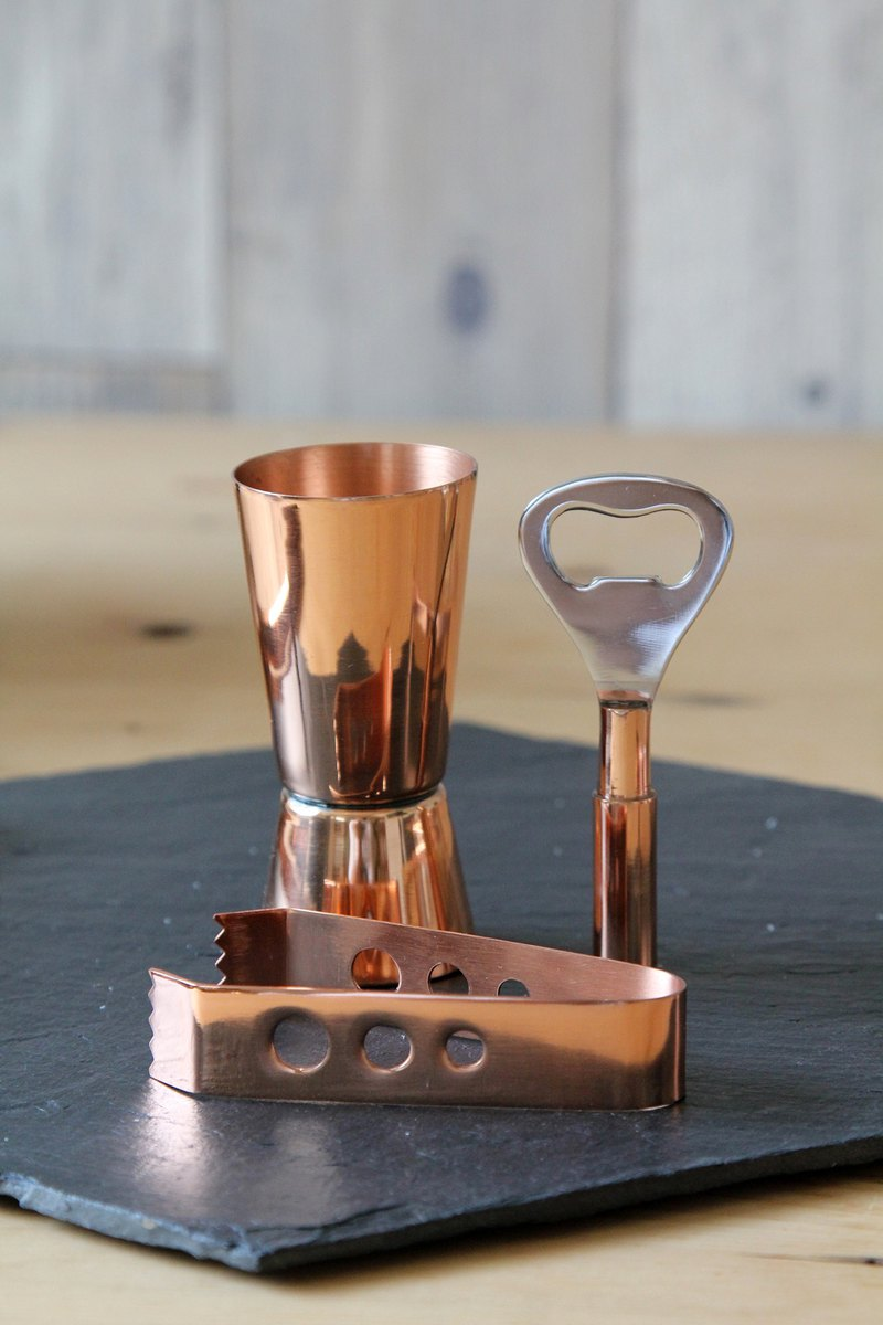 British Selbrae House stainless steel copper-plated mini wine bartending props gift box set - spot