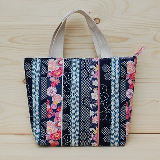 Japanese pattern zipper tote
