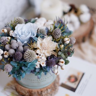 Unfinished | Dream blue cotton not withered roses not withered hydrangea immortalized flower pot flower gift gifts Home Furnishing props office healing small objects Christmas gift exchange spot