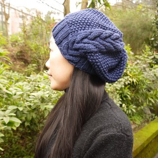 Hand made knitting wool hat ~ Merino / loose side linen hat series (dark blue)