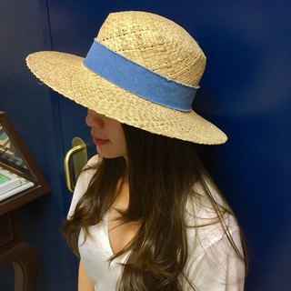 Denim Trimmed Straw Hat
