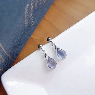 Belle blossoming hand-series -Iolite cordierite natural stone white steel ear pin is not afraid of water allergy