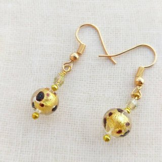 [Venetian Glass Beads] Chocolate Leopard Round Gold Foil Murano Glass Bead Earrings (Clip-on Available)