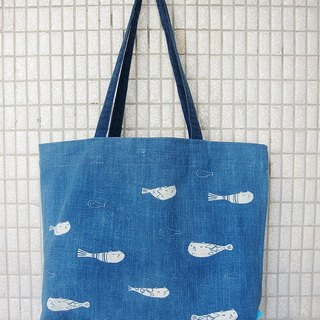 Indigo dyed shoulder bag - Flying Catfish