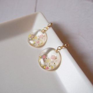 Handmade series cherry blossom snow earrings