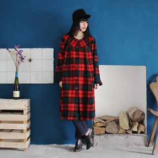 [Vintage dress] (made in Italy) red green plaid wool double pocket A word version of the long-sleeved vintage dress F3155 (Christmas gift Christmas exchange gifts)