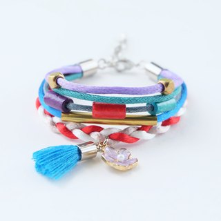 Colorful layer wrap bracelet with lilac flower and candy blue tassel