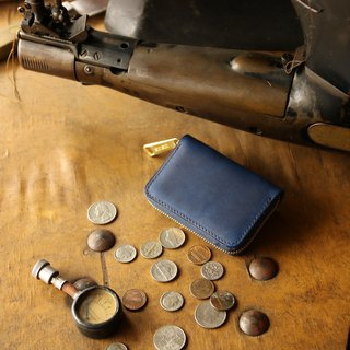 日本製造 硬幣錢包 牛皮 深藍 made in JAPAN handmade leather wallet coincase
