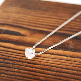 [Natural stone series] White crystal ore sterling silver necklace