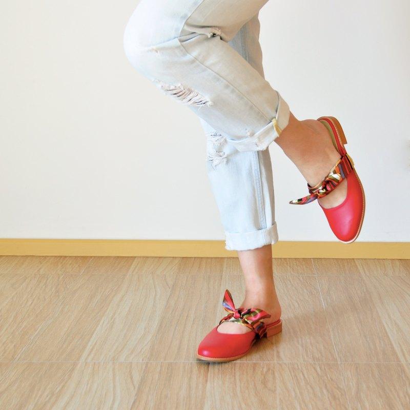 可更換絲帶涼鞋 - 紅色