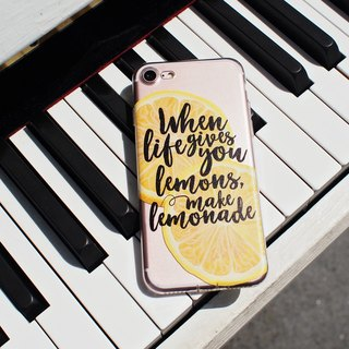 when life gives you lemons, made lemonade - shatter-resistant transparent soft shell - iPhone X, iPhone 8, iPhone 7, iPhone 7 plus, iPhone 6, iPhone SE, Samsung