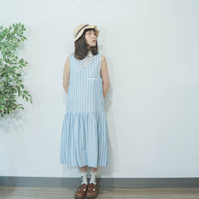Vintage stripe sky blue cotton sleeveless dress