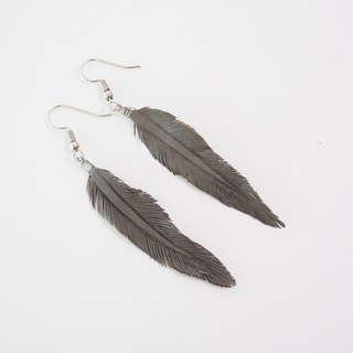 Leather Crave Earring Feather design - Warm Gray