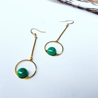 Copper round geometric emerald green color beads copper hand made _ earrings