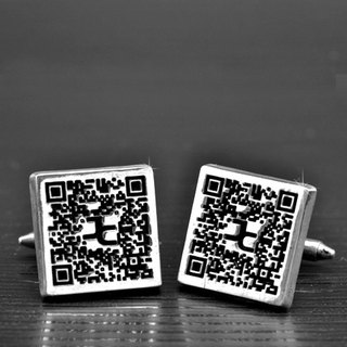 Customized .925 sterling silver jewelry CUF00010- Cuff (QR Code Version)