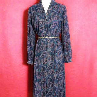 Blue-purple totem textured long-sleeved vintage dress / brought back to VINTAGE abroad