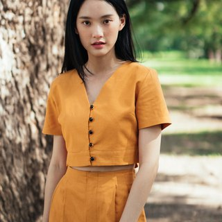(SIZE S) MUSTARD YELLOW COTTON LINEN BUTTON FRONT CROP TOP