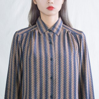 Dark blue wavy ocean vintage long sleeve shirt